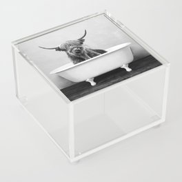 Highland Cow in a Vintage Bathtub (bw) Acrylic Box