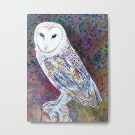Watercolor barn owl Metal Print
