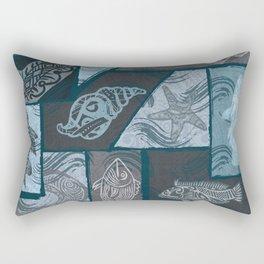 Vintage Hawaiian Tribal Fish Collage Rectangular Pillow