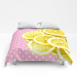 Candy Pink and Lemon Polka Dots Comforters