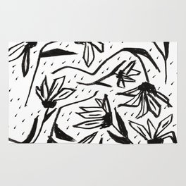 Black and White Echinacea Wildflower Drawing Rug