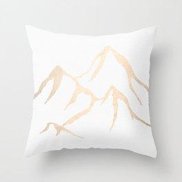 Adventure White Gold Mountains Throw Pillow