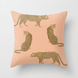 sunset leopards Throw Pillow