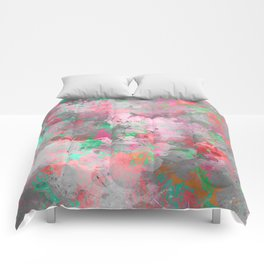 Modern abstract pink gray green watercolor pattern Comforters