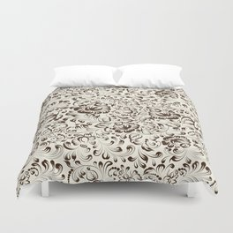 Floral seamless pattern in Gzhel style Duvet Cover