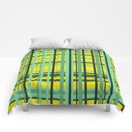 Checkered yellow green Design Comforters