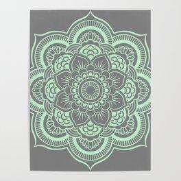 Mandala Flower Gray & Mint Poster