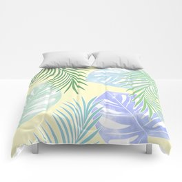 Tropical leaves pastel colors. Comforters