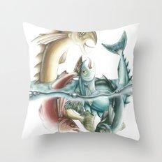 INKYFISH - Fish frenzy Throw Pillow