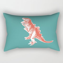 Dino Pop Art - T-Rex - Teal & Dark Orange Rectangular Pillow