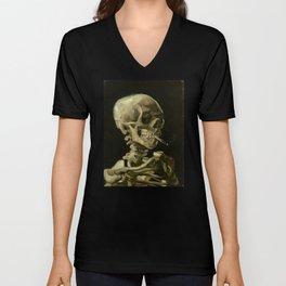 Vincent van Gogh - Skull of a Skeleton with Burning Cigarette Unisex V-Ausschnitt