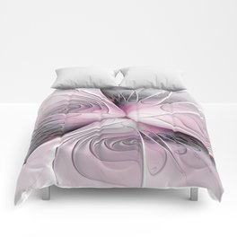 Fantasy Flower, Pink And Gray Fractal Art Comforters