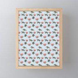 Turtles and Flowers Framed Mini Art Print