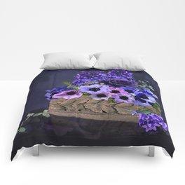 Purple Flower Basket Comforters