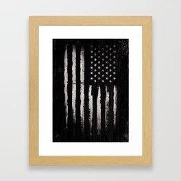 White Grunge American flag Framed Art Print