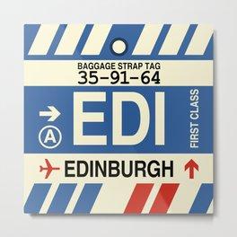 EDI Edinburgh • Airport Code and Vintage Baggage Tag Design Metal Print