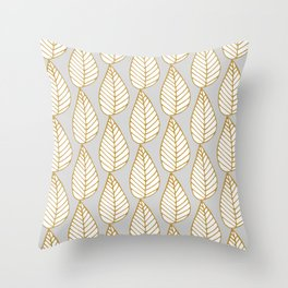 Winter Leaves Grey and Gold Throw Pillow