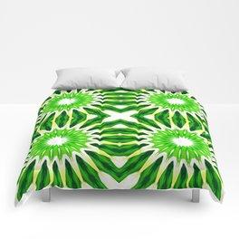 Serene Green Pinwheel Flowers Comforters