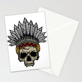 Indian Warrior Skull Is Ready For Battle With His Feathered Headdress And War Paint T-shirt Design Stationery Cards