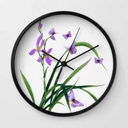 Butterflies and flowers Wall Clock