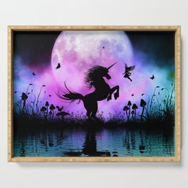 Wonderful unicorn with fairy in the night Serving Tray