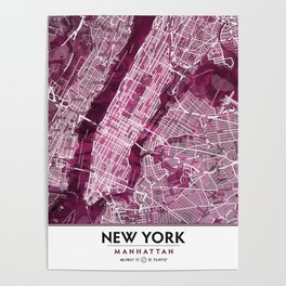 Black Rose Print Showing Manhattan NYC in Peony Floral Styling Poster