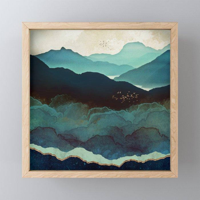 Indigo Mountains Framed Mini Art Print