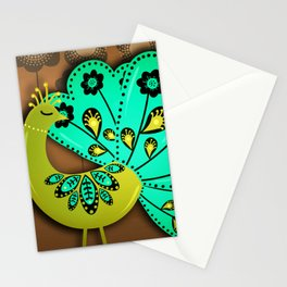 A Pair Of Copper Peacocks Stationery Cards