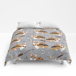 corgi wizard welsh corgis potter wizarding school pattern Comforters