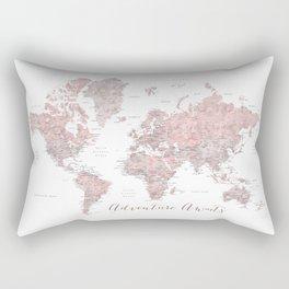 World map in dusty pink & grey watercolor, Adventure awaits Rectangular Pillow
