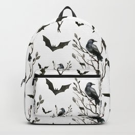Happy Halloween pattern with hollow trees, ravens and bats Backpack