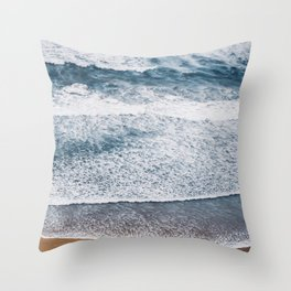 Rough Waters On Portugal Atlantic Coast Throw Pillow