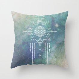 Mandala Flower of Life in Turquoise Stars Throw Pillow