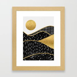 Gold Sun, digital surreal landscape Framed Art Print