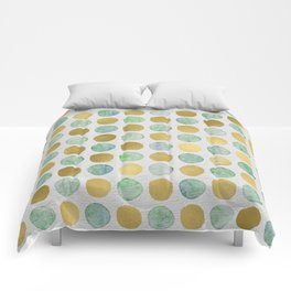 Gold and Teal Polka Dots Comforters