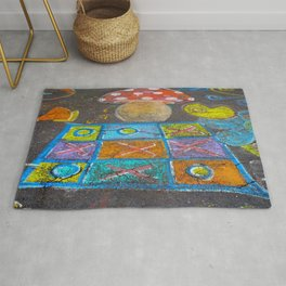 Children drawings on the asphalt with colorful chalk Rug