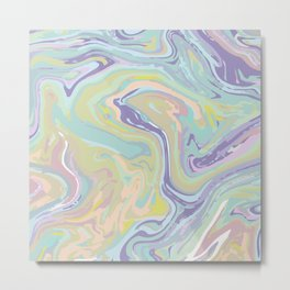 Colorful Brush Marble Abstract Art Design Metal Print