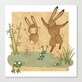 The hare and the frogs Canvas Print
