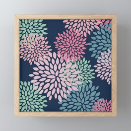 Floral Pattern, Navy Blue, Pink, Coral, Green Framed Mini Art Print