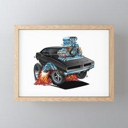 Classic 69 American Muscle Car Cartoon Framed Mini Art Print