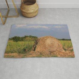 Kansas Hay Bale in a Farm Field Rug