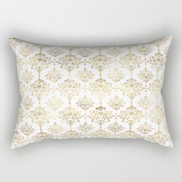 White & Gold Motif Rectangular Pillow