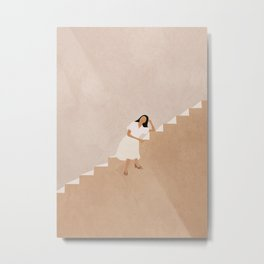 Girl Thinking on a Stairway Metal Print