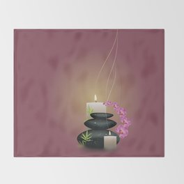 Pebbles with orchid Throw Blanket
