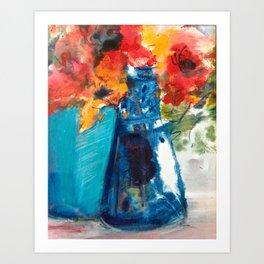 Bright Cobalt and Orange Floral  Art Print