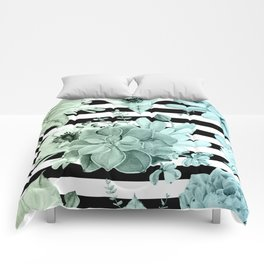 Succulents in the Garden Teal Blue Green Gradient with Black Stripes Comforters