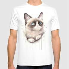 Grumpy Watercolor Cat Animals Meme Geek Art Mens Fitted Tee White SMALL