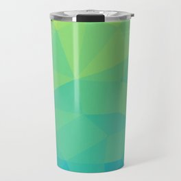 Abstract Geometric Gradient Pattern between Soft Green and Strong Cyan Travel Mug