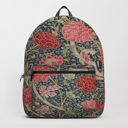 William Morris Floral Red and Pink Art Nouveau Textile Patter Backpack