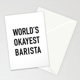 World's Okayest Barista Black Typography Stationery Cards